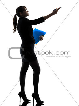 business woman showing pointing  holding folders files silhouett