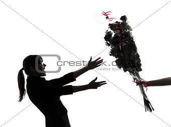 business woman receiving  flowers bouquet silhouette