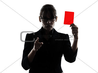 business woman showing red card silhouette
