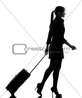 business woman traveling walking  silhouette