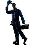 repair man worker saluting silhouette