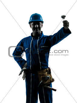 man electrician holding light bulb silhouette