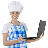 Woman Cook with Laptop