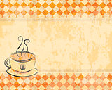 retro background with a cup of coffee