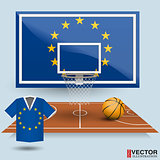 Basketball backboard, basket, court, ball and t-shirt in the colors of the Europe Union flag