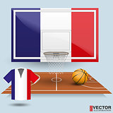 Basketball backboard, basket, court, ball and t-shirt in the colors of the France flag