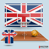 Basketball backboard, basket, court, ball and t-shirt in the colors of the United Kingdom flag