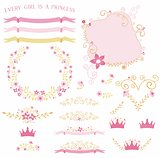 Pink Princess Vector Florals & Laurels