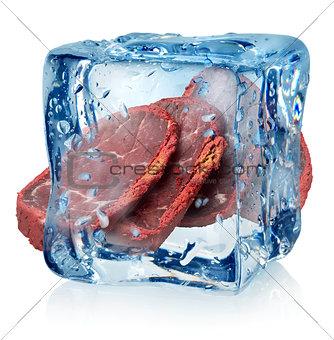 Basturma in ice cube