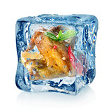 Chicken wings in ice cube