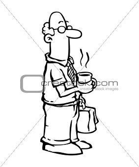 Employee drinking coffee