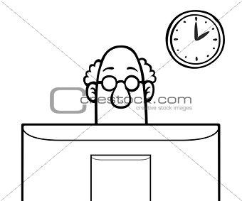 Man behind computer screen