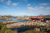 Fishing cabins at Mortsund, Lofoten Islands, Norway