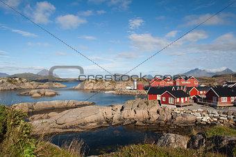 Fishing cabins at Mortsund, Lofoten Islands, Norway