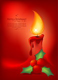 Christmas background or greeting card with red candle