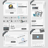 Website template design menu navigation elements with icons set