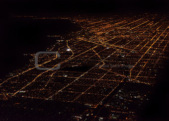 Night Panorama Of Chicago