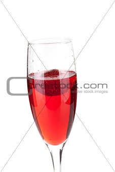 Champagne with strawberry - christmas alcohol cocktail