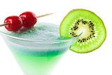 Alcohol cocktail with kiwi and cherry