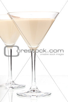Alcohol cocktail with milk and mint