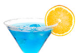Cocktail collection - Blue martini with orange slice