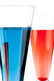 Red and Blue Champagne alcohol cocktail
