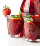 Refreshing fruit sangria. Closeup