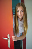 girl and open door