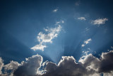 Silver Lined Storm Clouds with Light Rays and Copy Space