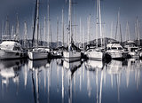 Sail boat harbor in evening