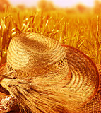 Straw hat on wheat field