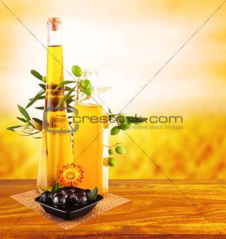 Olive oil still life