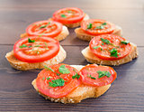 Delicious tomato bruschetta with herbs
