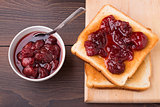 Toast with strawberry jam