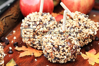 Three Chocolate Chip Carmel Apples