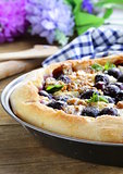 homemade pie  (galette) with grapes and blue cheese