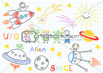 Vector sketches with happy children's and aliens