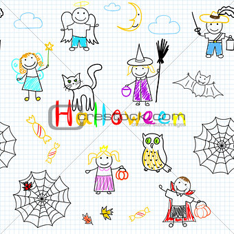 Vector seamless background with happy children's