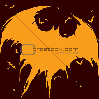 Bats silhouette - Halloween background