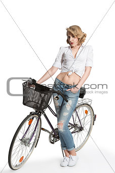 casual woman with bicycle