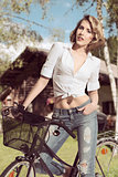 sexy casual woman on bicycle