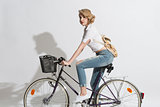 pretty woman on a bicycle