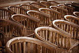Old wooden chairs in the theater