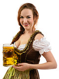 Oktoberfest server holding beer