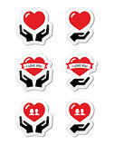 Hands with red heart, love, relationship icons set