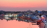 Pushkar Holy Lake at sunset.