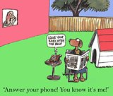 Answer the phone, dog and owner