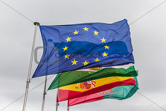 Flags of Europe, Andalusia, Spain and Granada