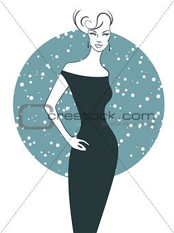 Woman silhouette in dress
