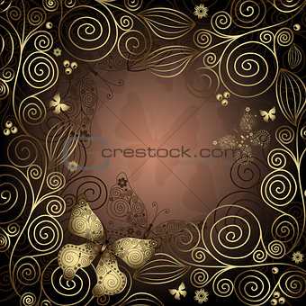 Gold and brown vintage frame